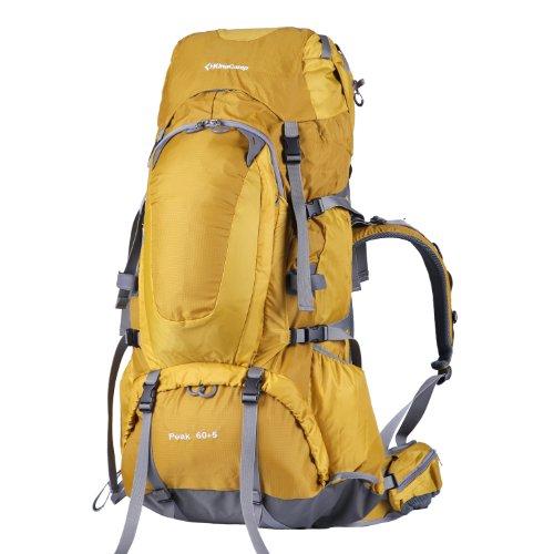 KingCamp 60L+5L Herren Damen Wasserdichter Trekkingrucksäcke Wanderrucksäcke Reiserucksack für Camping Wandern und Bergsteigen Wasserdicht mit Regenhülle 30 * 74 * 26CM