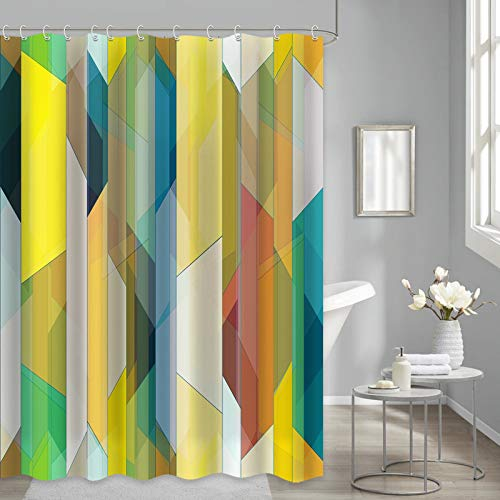 """Yellow Shower Curtain for Bathroom, Green Yellow Blue Colorful Art Striped Iridescent Bathroom Curtains Decoration Fabric Waterproof, 72""""x72"""""""