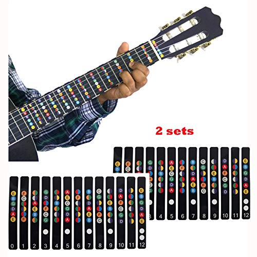 Fretboard Numbered Neck Note Decals Scale Chart Fingerboard Fret Map Label | 100% vinyl Color Coded Sticker 2 packs 6 String Acoustic Electric Guitar Accessories for Music Learners Beginners Trainers