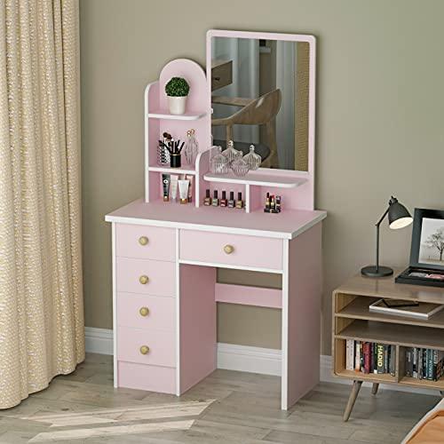 FUFU&GAGA Vanity Desk Dresser Table with Mirror, Makeup Vanity Dressing Table with 5 Drawers, 2 Shelves Dresser Desk, Pink