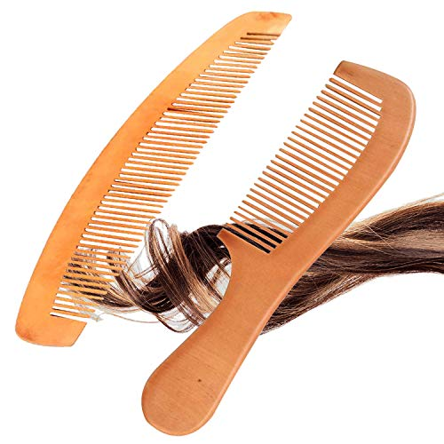 Natural Wooden Hair Comb Set - 2 Pcs - Peach Wood with Anti-Static - Handmade Premium Comb for Beard and Hairs - Massage Scalp for Men and Women Medium to Thick Hair - Best Gifts Xmas