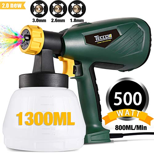 Paint Sprayer, TECCPO 500 Watts Up to 100 DIN-s, 800ml/min HVLP Electric Spray Gun with 1300ml...