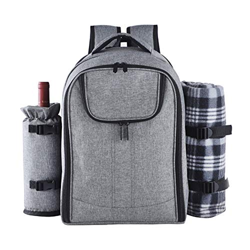 Fikujap Picnic Backpack Hamper,Multifunctional Portable Tableware Insulation Pouch,Cooler Bag with Tableware Set And Blanket