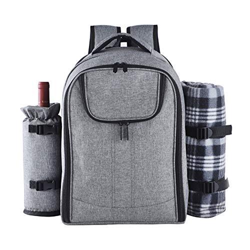 Fikujap Picknickrucksack 4 Personen Picknickset Mit Isoliertem Kühlfach Und Decke Für Camping Outdoor