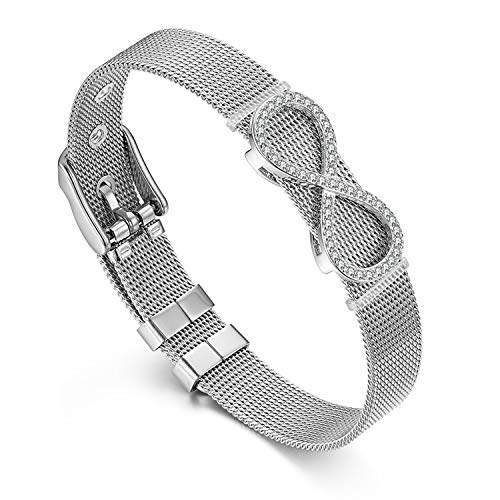 Flongo Damen Armband Frauen Armreif, Edelstahl Armband Infinity Unendlichkeitszeichen mit Zirkonia Mesh Band Kette Armkette Silber Verstellbar