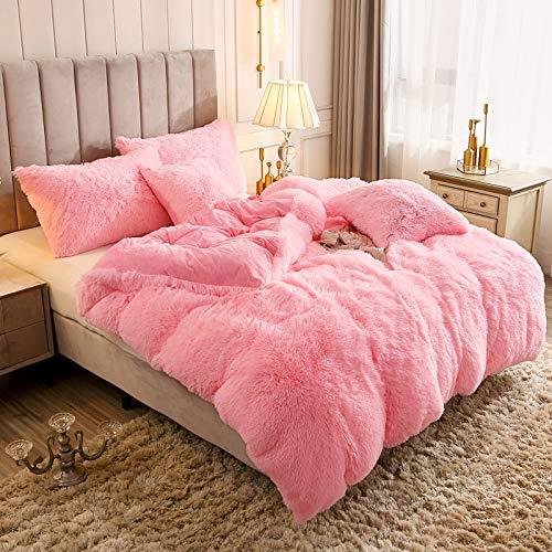 Uhamho Solid Fluffy 1PC Faux Fur Plush Duvet Cover Luxury Shaggy Velvet Bedspread Zipper Closure (Pink, Twin)