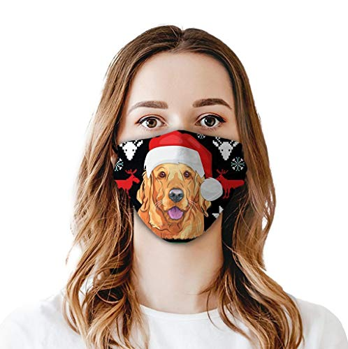 UNKN Unisex Christmas Dog Printing Protection Washable&Reusable,Windproof,Winter Flexible Fit for Men,Women and Teens