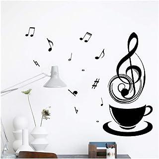 Qinyubing Café Notes De Musique Stickers Muraux Bureau Étude De Bureau Décoration Maison Stickers Bricolage Affiches Vinyl...