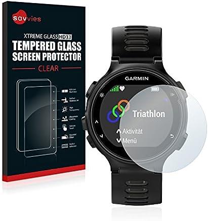 Savvies Protector Pantalla Cristal Templado Compatible con Garmin Forerunner 735XT - Dureza 9H