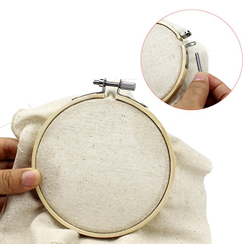 BAKHUK 10Pieces Round Wooden Embroidery Hoops Set - 5Pcs 4 inch and 5Pcs 6 inch Bulk Adjustable Bamboo Circle Cross Stitch Hoop Ring with 10 Pieces Sewing Needles