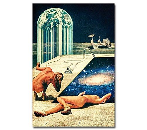 Poster - Moon Pool - Vintage für Schlafzimmer Frauen Mond Universum Retro Illustration Weltraum