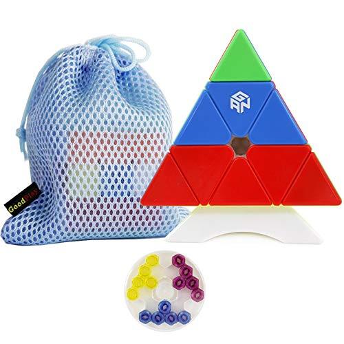 Ganspuzzle GAN 3x3 M m m AG Net IC Pyramid GAN Pyraminx M Triangle Magic Cube Enhanced Core Positioning Edition con GES + Piezas + Una Bolsa de Cubo y un Soporte