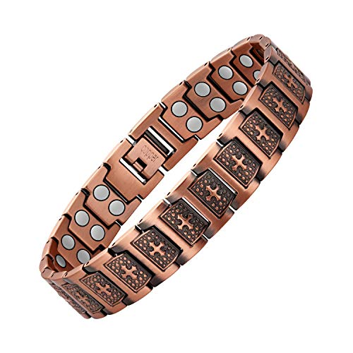 Jecanori Copper Bracelets For Men Pain Relief For Arthritis Therapy Double Row Magnetic Bracelets with 3500 Gauss Magnets, Cross Symbol for Christian