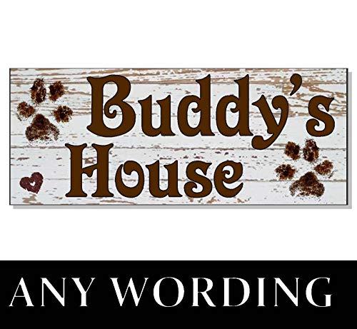 cwb2jcwb2jcwb2j Hund Shabby Chic White Wash Paws Personalisiertes Namensschild Hausbett Hundehütte Türpolster Geschenk Outdoor Garten Maßgeschneidertes Holzschild 27,9 x 10,2 cm