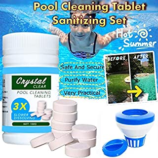Swimming Pool Cleaning Tablet, 100 Pcs/Bottle Magic Pool Cleaning Tablets + Floating Pool Dispenser, Disinfection Efferves...