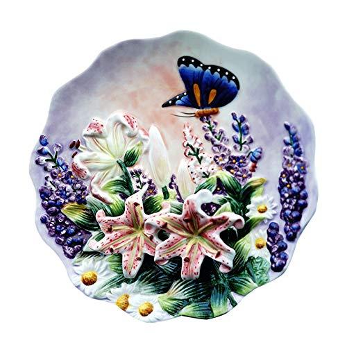8 Pulgadas Esculturas Flores Decorativas Placas de Pared de Porcelana Placas de Decoración Vintage Decoración Homenora Artesanía Decoración de la habitación Estatuilla (Color : A)