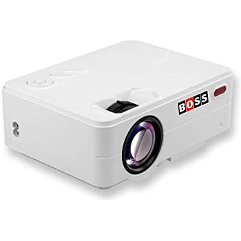 """Boss S12 Full HD Home Theatre Projector 3000 Lumens 1920X1080 150"""" Display with HDMI/AV/VGA/USB/TV Input Portable Projector (White)"""