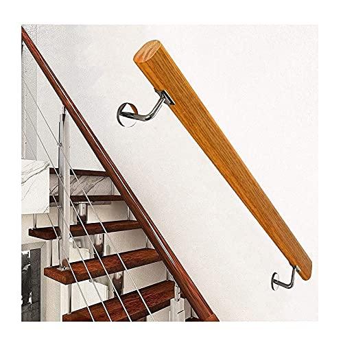 Conjunto de pasamanos de madera 1FT-20FT, pasamanos antideslizantes de madera de la escalera interior, barandilla de la escalera libre de barreras para ancianos, montaje en pared para el patio de la p