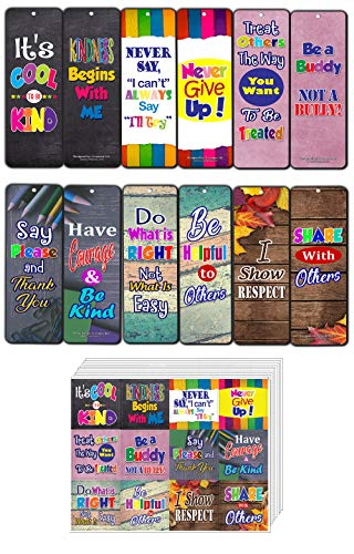 Creanoso Inspiring Sayings Good Character Quote Bookmark Cards (60-Pack) + Stickers (5-Sheet) Bundle Pack – Premium Gifts for Young Readers – Awesome Bookmarks