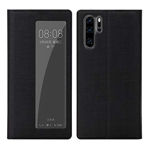 Eastcoo für Huawei P30 Pro / P30 Pro New Edition Hülle, PU Leder Smart View Tasche Hülle mit [Auto EIN/aus Funktion] [Ständer] [TPU Bumper] Stoßfest Flip Cover Handyhülle (Schwarz)