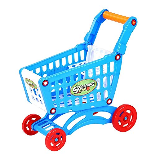 Boutique de Hanks Enfants Poussette, Paulclub Jouet Enfants Pousser La Main Simulation en Plastique Mini Supermarché Panier Bébé Fun Poussette Tout-Petits (Color : Blue)