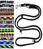 elropet Hundeleine Doppelleine Übungsleine Führleine für mittlere Hunde bis 45 Kg über 39 Farben sehr stabil (2,40 m, Schwarz)