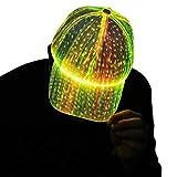 LED Cap Luminous Baseball Hat 7 Colors Glow Hat for Men Women USB Charging Light up Caps for Party Club Black