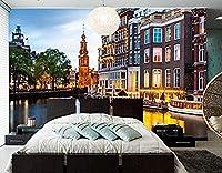 カスタム壁画オランダアムステルダムハウスシティ3D壁紙リビングルームテレビ背景ソファ壁寝室キッチン-130x60cm