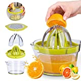Citrus Juicer, Manual Lemon Orange Juicer, COFOND 4 in 1 Multi-function Hand Juicer with Built-in Measuring Cup and Grater, 12-Ounce Capacity Anti-Slip Reamer Extraction Egg Separator