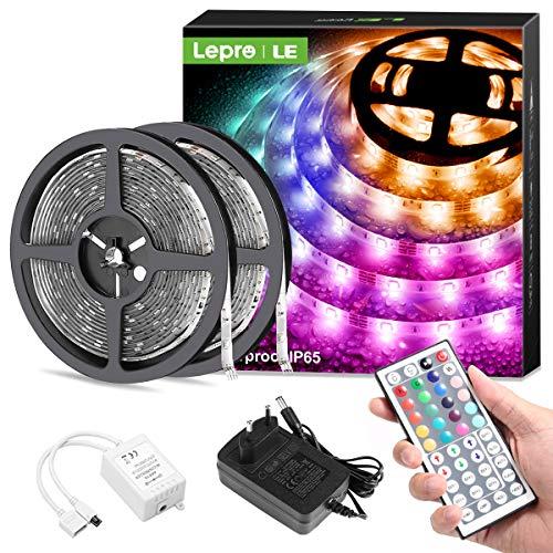 Lepro LED Strip 10M(2x5M), LED Streifen Lichterkette mit Fernbedienung, Band Lichter Wasserdicht IP65, RGB Dimmbar Lichtleiste Light, Lichtband Leiste, Bunt Kette Stripes für Party Weihnachten Deko