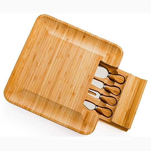 xutu Tablas para Picar Tarjeta del Queso cajones de bambú charcutería Cubiertos Juego de Cuchillos, 4 Tenedores Servidor, bambú Queso Junta Tabla de Cortar Madera Manejar Conjuntos Cuchillos