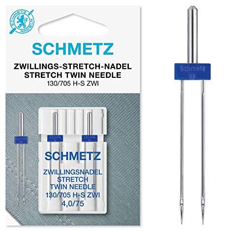 SCHMETZ Nähmaschinennadeln 2 Zwillings-Stretch-Nadeln 4,0/75 | 130/705 H-S ZWI