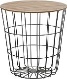 tavolino d'appoggio con cestino in metallo e coperchio in legno, tavolino decorativo da, incluso inserto per cestino