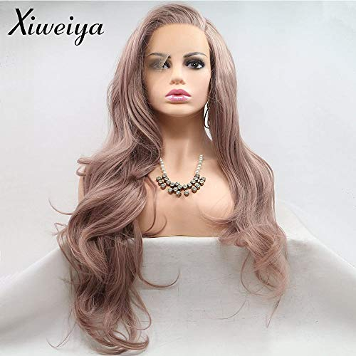 Xiweiya Wigs Long Body Wave Wig Mixed Ash Pink Color Synthetic Lace Front Wig Side Part Looking Purple Grey Hair Heat Resistant Fiber for Women Everyday Makeup Cosplay Wig 24inch