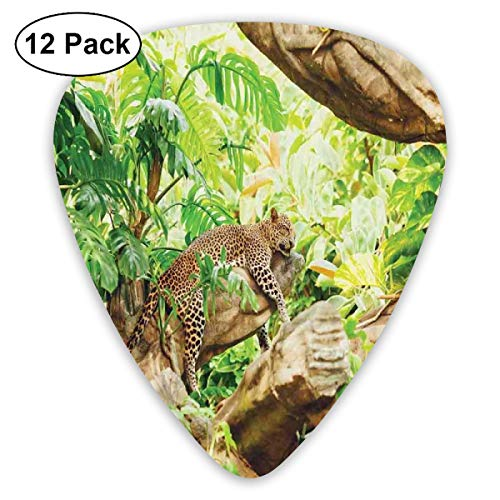 Guitar Picks12pcs Plectrum (0.46mm-0.96mm), Leopard On The Branch In Savannah Exotic Macro Tropical Leaf Jungle Wild Nature Art,For Your Guitar or Ukulele