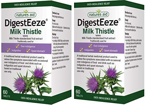 Natures Aid DigestEeze 150mg (Equivalent 2750mg - 6600mg Milk Thistle) 60 Tabs - 2 Pack