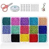 Cuentas de Colores 2mm Mini Cuentas y Abalorios Cristal para DIY Pulseras Collares Bisutería (15 Colores)