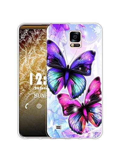 Sunrive Cover Compatibile con Samsung Galaxy S5, Custodia Case in Molle Trasparente Silicone Morbida Flessibile AntiGraffio Protettiva Back custodie(Q Farfalla)