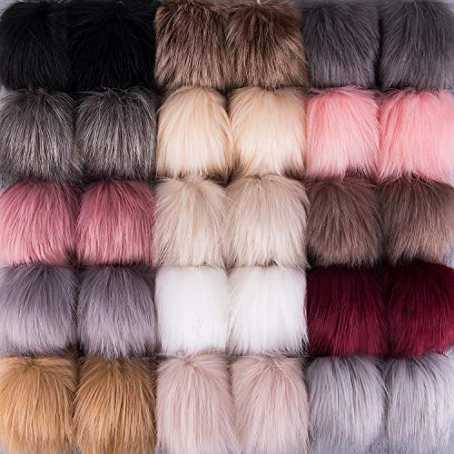 SIQUK 30 Pieces Faux Fur Pom Pom Balls DIY Faux Fox Fur Fluffy Pom Pom with Elastic Loop for Hats Keychains Scarves Gloves Bags Accessories(15 Colors, 2 Pcs for Each Color)