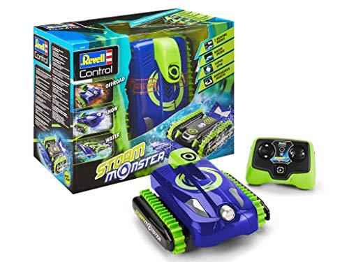 Revell Control 24649 RC Stunt Car Storm Monster inkl. Akku, GHz, 2in1 Auto&Boot, Amphibienfahrzeug mit Kettenantrieb, Wasserdicht ferngesteuerte Power-Raupe, fährt auf Wasser und Land, grün/blau