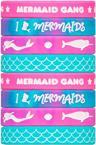 Mermaid Silicone Wristbands - 8 Pack Party Favor Set (2 of Each Color) - Great for Mermaid Themed Parties!
