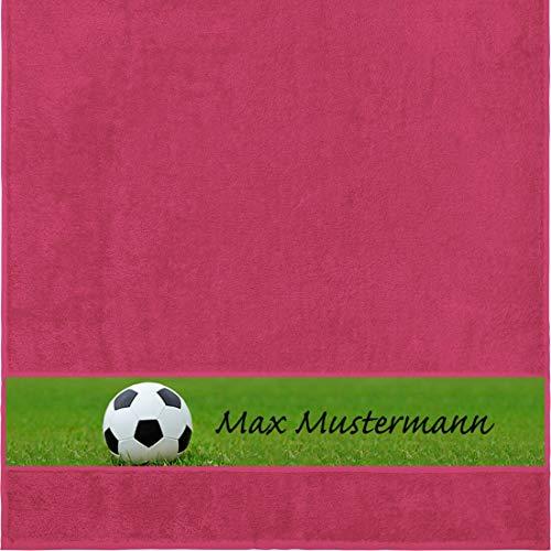Manutextur Duschtuch mit Namen - personalisiert - Motiv Sport - Fußball - viele Farben & Motive - Dusch-Handtuch - Fuchsia - Größe 70x140 cm - persönliches Geschenk mit Wunsch-Motiv und Wunsch-Name