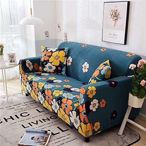 AKTYGB Funda para Sofá Elasticas de 4Plazas- 3D Lmpresión Fundas Decorativas para Sofás(Gratis 2 Funda de Cojines) Universal Muebles Fundas Decorativas para Sofás - Flores Azules