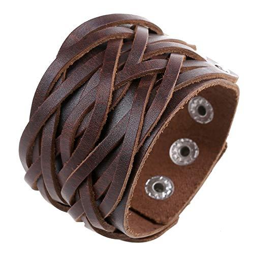 Pulsera de Cuero Trenzado de joyeria,Cuff Bangle Black Pulseras anchas de cuero genuino para hombres Accesorios de joyería para mujer marrón