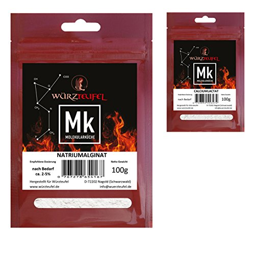 Natriumalginat & Calciumlactat Molekulare Küche Fruchtkaviar - Set, Vorteilspack. Einfache Herstellung! 2 Beutel, je 100g.