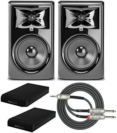 JBL 308P MkII Powered 8 inch Two Way Studio Monitor Pair with Knox Isolation Pads and Breakout product image