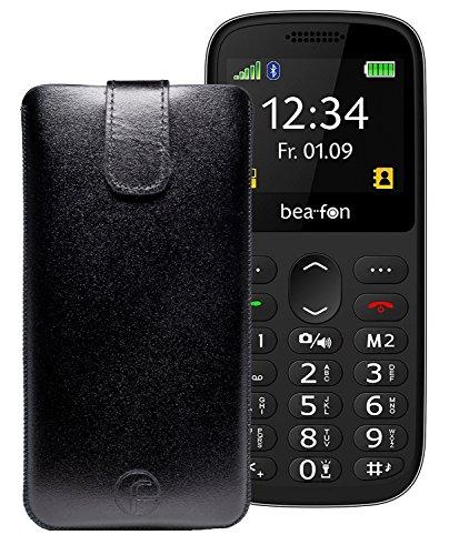 Favory Etui Tasche für Beafon SL350 - Beafon SL160 Leder Handytasche Ledertasche Schutzhülle Hülle Hülle Lasche mit Rückzugfunktion in Schwarz