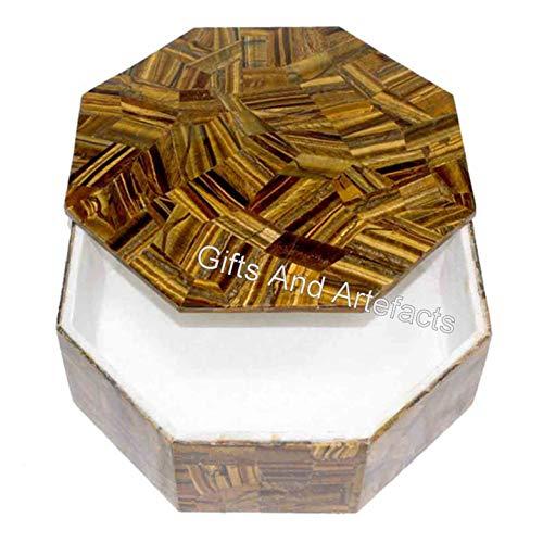 Caja de mármol octagonal con piedra de ojo de tigre superpuesta de trabajo elegante caja de joyería de Indian Cottage Art and Crafts en 6 pulgadas