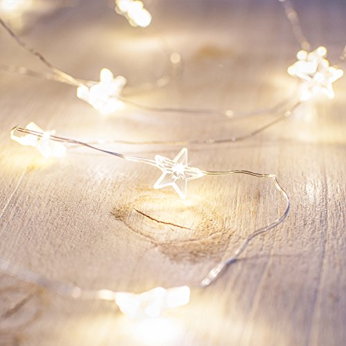 Battery Operated Star Fairy Lights with 40 Micro Warm White LEDs on Silver Wire by Lights4fun