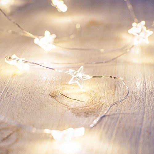 Lights4fun Guirnalda Luminosa de 40 Estrellas con luz LED Blanca cálida de baterías y Temporizador